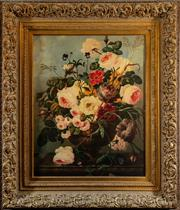 Sale 8882H - Lot 3 - A print of a still life of roses in elaborate gilt frame 107cm x 94cm