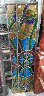 Sale 8925 - Lot 1033 - A pair of stained glass leadlight windows in primary colours (115 x 22cm)