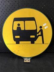Sale 9002 - Lot 1051 - Enamel Double Sided Bus Stop Sign (d:40cm)