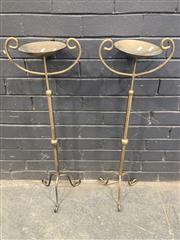 Sale 9051 - Lot 1007 - Pair of Gilt Candle Holders with Scrolled Handles (H:91cm)