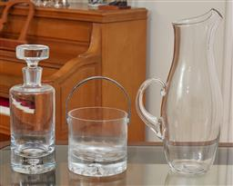 Sale 9098H - Lot 75 - Three pieces of glassware comprising a decanter and stopper, Ice bucket and water jug, Height of Water jug 37cm