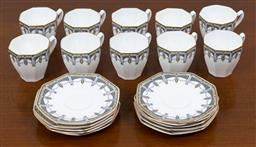 Sale 9140H - Lot 92 - A set of ten Royal Doulton coffee cups and saucers in the Claremont pattern.