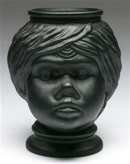 Sale 9148 - Lot 23 - Painted black glass figural vase (H:25cm)
