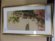 Sale 8417T - Lot 2083 - Framed Watercolour of Steamships in the Distance; signed HS