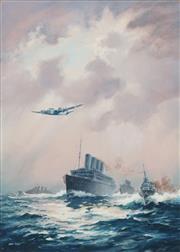Sale 8755 - Lot 587 - John Allcot (1888 -1973) - Maritime Battle Scene with Jet Fighter 35.5 x 50cm