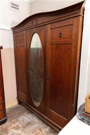 Sale 8804A - Lot 200 - A 1920s maple three door wardrobe, H 205 x W 170 x D 56cm