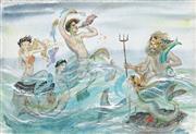 Sale 9038 - Lot 590 - Pixie OHarris (1903 - 1991) - Posiedon & Sirens 34.5 x 51.5 cm (frame : 56 x 71 x 2 cm)