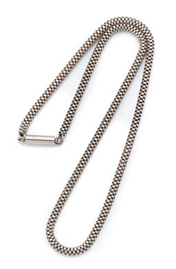 Sale 9107J - Lot 320 - A SILVER FANCY LINK CHAIN; 4mm wide box popcorn link chain to barrel clasp, length 48cm, wt. 22.71g.