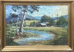 Sale 9111 - Lot 2019 - Eric Whisson Shack by the Creek oil on board 73 x 103 cm (frame) signed lower left