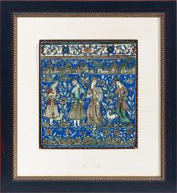 Sale 9130S - Lot 5 - A framed c.19th Persian glazed tile depicting four figures in floral landscape with animals, tile size 36.5cm x 33cm, frame size 67c...