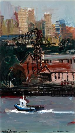 Sale 9133 - Lot 579 - Patrick Carroll (1949 - 2019) The Blue Tug oil on board 50.5 x 28.5 cm (frame: 88 x 55 x 4 cm) signed lower left