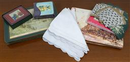 Sale 9140H - Lot 94 - A collection of coasters and napkins, in landscape themes.