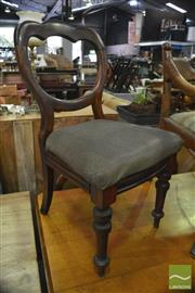 Sale 8390 - Lot 1041 - A Set of Five Victorian Mahogany Balloon Back Dining Chairs with drop in seats and turned legs