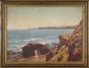 Sale 8449A - Lot 564 - Frederick Leist (1878 - 1945) - Figures on Ben Buckler Rock, Bondi Beach 42 x 57cm