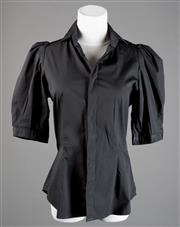 Sale 8499A - Lot 55 - A Ralph Lauren black cotton blouse with puffed 3/4 sleeves, Size: 8.