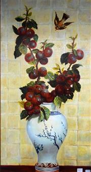 Sale 8563T - Lot 2011 - Artist Unknown - Plums oil on synthetic canvas, 88 x 45cm, unsigned