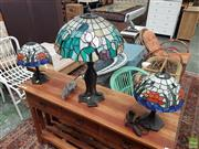Sale 8601 - Lot 1501 - Pair of Leadlight Lamps with Another