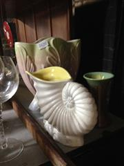 Sale 8658 - Lot 79 - Malmar Conch Shell And Two Other Vases