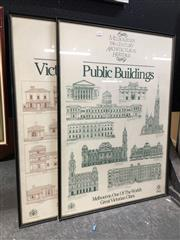 Sale 8726 - Lot 2056 - 4 Works: 2 Framed Posters of Billichs Sydney (adjoining skyline) & 2 Framed Posters of Melbourne (Public Buildings & Victorian Housing