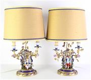 Sale 8977 - Lot 80 - A Pair of Continental Porcelain Table Lamps (Some Losses and Minor Chips)
