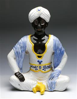 Sale 9093P - Lot 57 - Majolica Figure of Indian with Turban