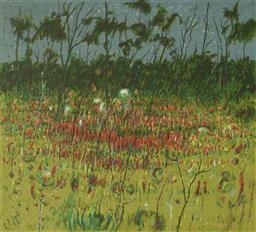 Sale 9112A - Lot 5017 - Clem Millward (1929 - ) - Starlight & Wild Hops, 1996 48.5 x 51.5 cm (frame: 79 x 89 x 4 cm)