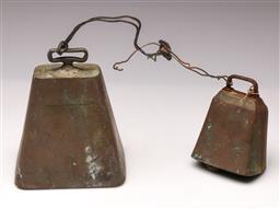 Sale 9114 - Lot 57 - Vintage brass cowbells (2) (H:18cm and 13cm)
