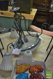 Sale 8284 - Lot 1024 - Iron and Brass Light Fitting with Glass Shades