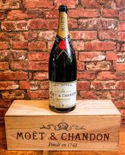 Sale 8500A - Lot 23 - A large decorative bottle of Moet with wooden case : Bottle Measures 48cm High Wooden Case Measures 54cm long x 19cm deep x 18cm hig...