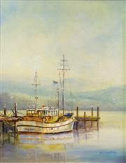 Sale 8563T - Lot 2034 - Dorothy Lindsay - Early Light across the Bay, oil on board, 37 x 29cm, signed lower right