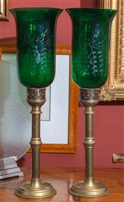 Sale 8625A - Lot 64 - A pair of etched green Bohemian glass lanterns with brass columns, total height 51cm.