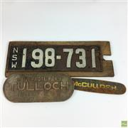 Sale 8648A - Lot 92 - Mounted Vintage NSW Number Plate with a Tulloch Manufacturing Plaque