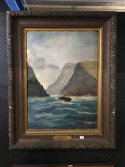 Sale 8702 - Lot 2064 - Artist Unknown (C19th) - Entrance Milford Sounds oil on board, 84 x 66cm (frame) signed lower right
