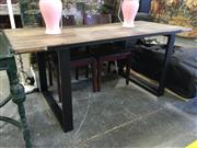 Sale 8787 - Lot 1078 - Modern Timber Top Dining Table on Metal Legs