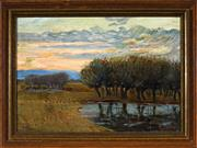 Sale 8945 - Lot 2003 - European School (Early C20th) - Country Sunset,1910 32x 47 cm (frame: 42 x 57 x 4 cm)