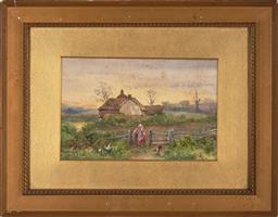 Sale 9245J - Lot 64 - Myles Birket Foster RWS (1825 – 1899 - Feeding the Cockerels 15 x 23 cm (frame: 32 x41 x 2 cm)