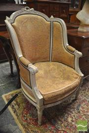 Sale 8317 - Lot 1088 - Louis XVI Style Carved & White Painted Fauteuil, with studded old tapestry upholstery, on turned legs.