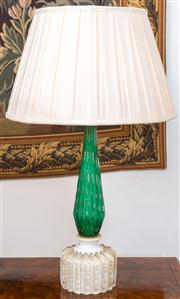 Sale 8435A - Lot 19 - A pair of white, green and aventurine Murano glass table lamps with cream silk pleated shades, total H 60cm