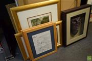 Sale 8569 - Lot 2079 - Group of (9) Assorted Artworks incl Decorative Framed Mask (framed/various size)