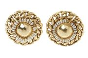 Sale 8632 - Lot 351 - A PAIR 18CT GOLD PEARL CLIP EARRINGS; each a circle of freshwater pearls to a rigid curb link border, diam. 26.7mm, wt. 17.4g.