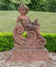 Sale 8677A - Lot 32 - Terracotta coloured cherub on stand, H x 115cm, W x 100cm