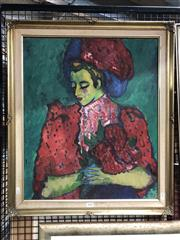 Sale 8779 - Lot 2020 - Fauvist - Style Portrait Painting, by an unknown artist, 70 x 60cm, unsigned