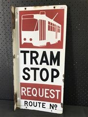 Sale 9002 - Lot 1049 - Vintage Enamel Double Sided Tram Sign (57 x 27cm)