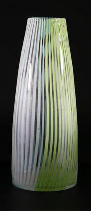 Sale 9003G - Lot 614 - Vintage Italian Latticinio Cylinder Glass Vase, Possibly Murano (H28.5cm)