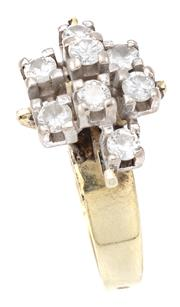 Sale 9071F - Lot 17 - A 9ct GOLD RING SET WITH EIGHT ROUND BRILLIANT CUT DIAMONDS, wt 0.75g