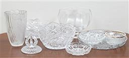 Sale 9140H - Lot 88 - A collection of moulded glasswares including a frosted fruit design example and a swan patterned cut glass example