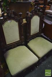 Sale 8345 - Lot 1001 - Pair of Carved Oak High Back Chairs, with pale green velvet upholstery & on castors