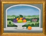 Sale 8374 - Lot 514 - Frances Jones (1923 - 1999) - Still Life with Tuscan View 29.5 x 39.5cm
