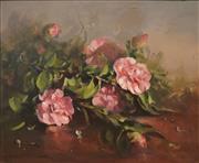 Sale 8510 - Lot 587 - Carole Milton (1937 - ) - Still Life (Japonica) 45 x 54cm