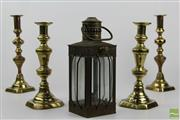 Sale 8508 - Lot 28 - Brass Pairs of Candlesticks & A Lantern